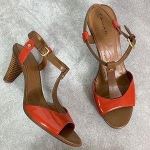 Tahari Coral & Brown Betsy T-Strap Sandals
